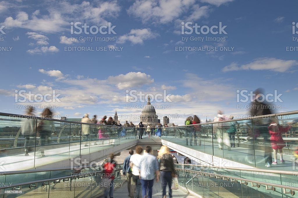 St Paul's Cathedral from the London Millennium Footbridge, UK stock photo