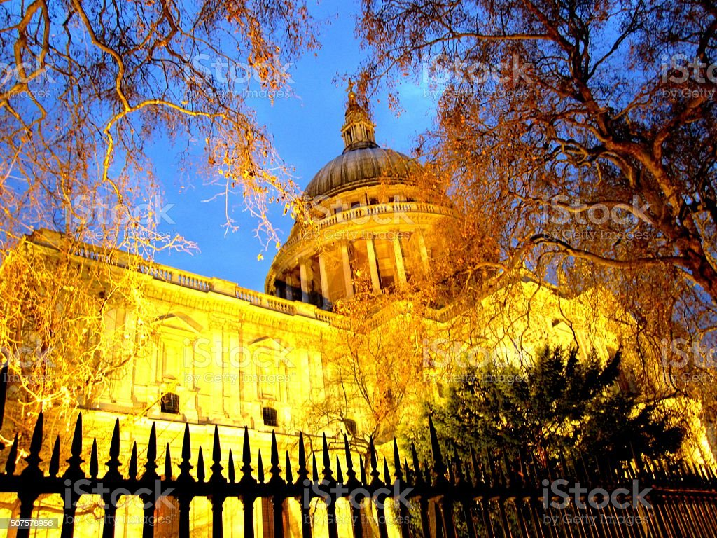 St Paul's Cathedral lit up at night stock photo