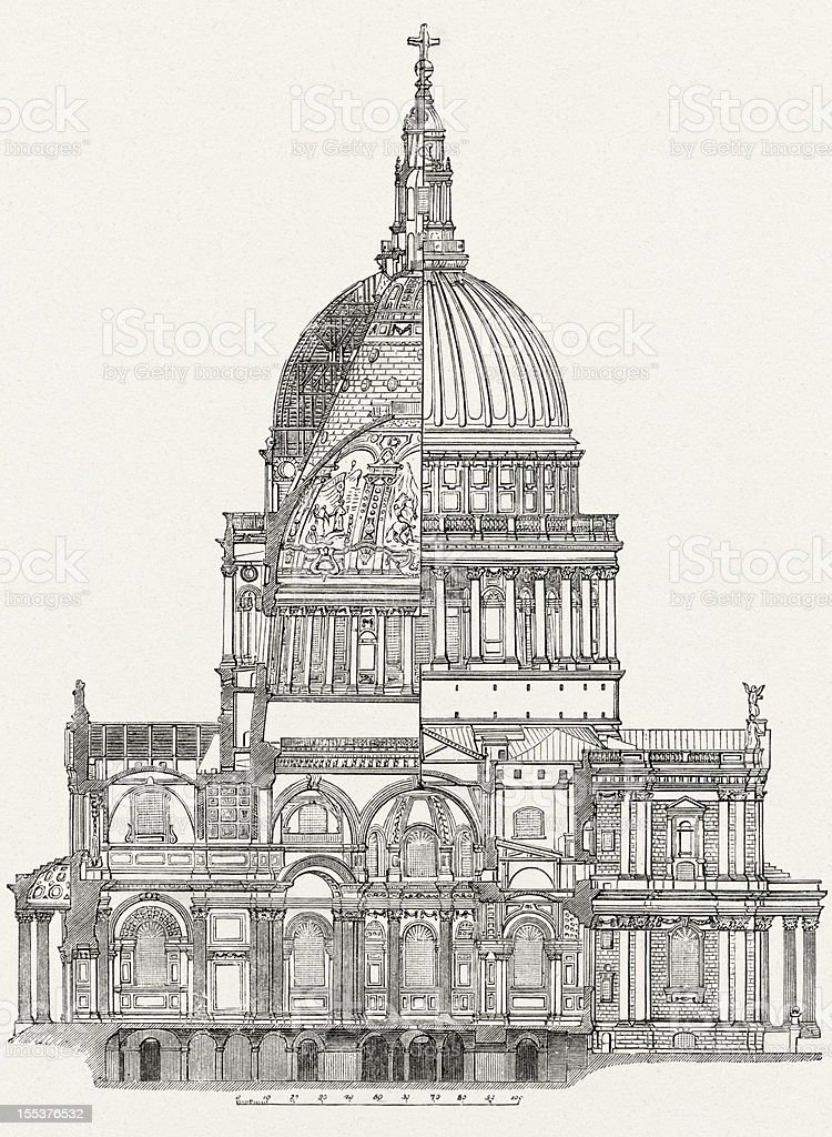 St. Paul's Cathedral, London, architectural study stock photo