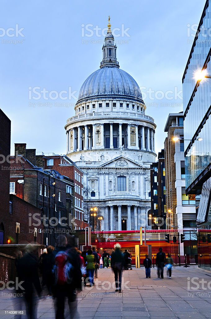 St. Paul's Cathedral London at dusk royalty-free stock photo