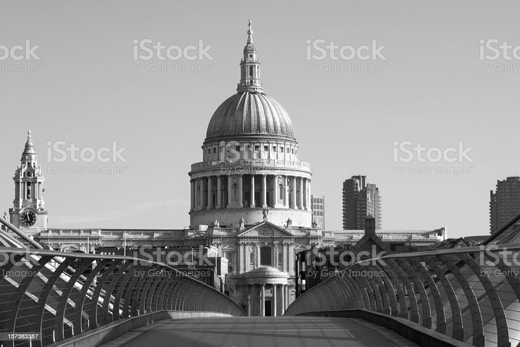 St Paul's Cathedral, London, black and white, copy space royalty-free stock photo