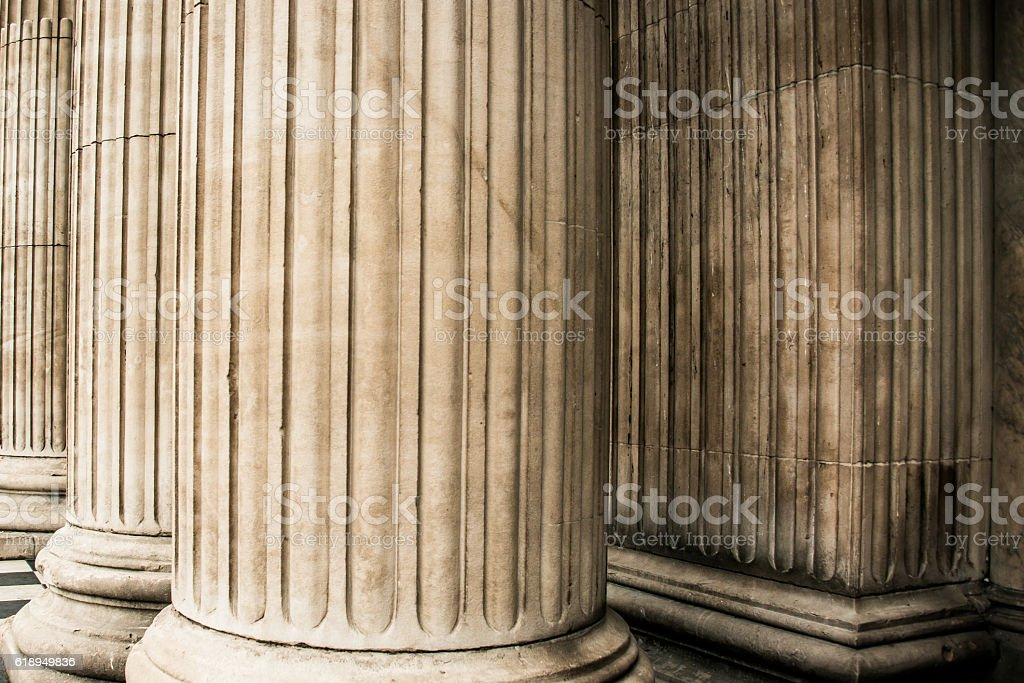 St. Paul's Cathedral  London - Corinthian Columns stock photo