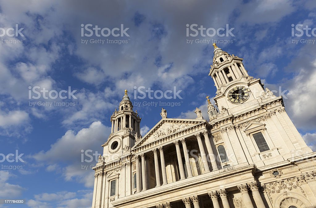 St Paul's Cathedral London framed by dramatic sky royalty-free stock photo
