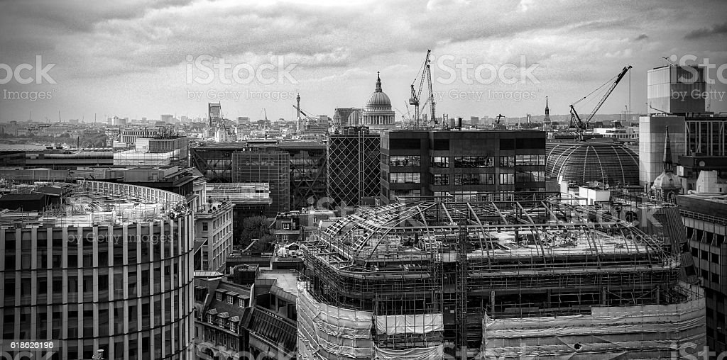 St Paul's Cathedral, London, from The Monument, black and white stock photo