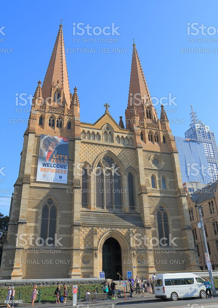 St Pauls cathedral Melbourne Australia stock photo