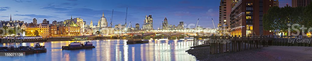 St Paul's Cathedral, River Thames and Downtown London Citysape stock photo