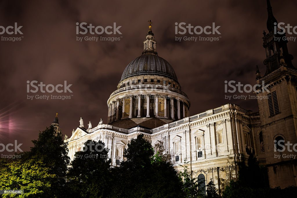 St Paul's Cathedral with a cloudy sky nighttime stock photo
