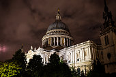 St Paul's Cathedral with a cloudy sky nighttime