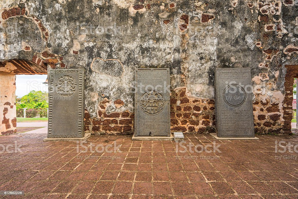 St. Paul's Church is a historic church building in Malacca stock photo