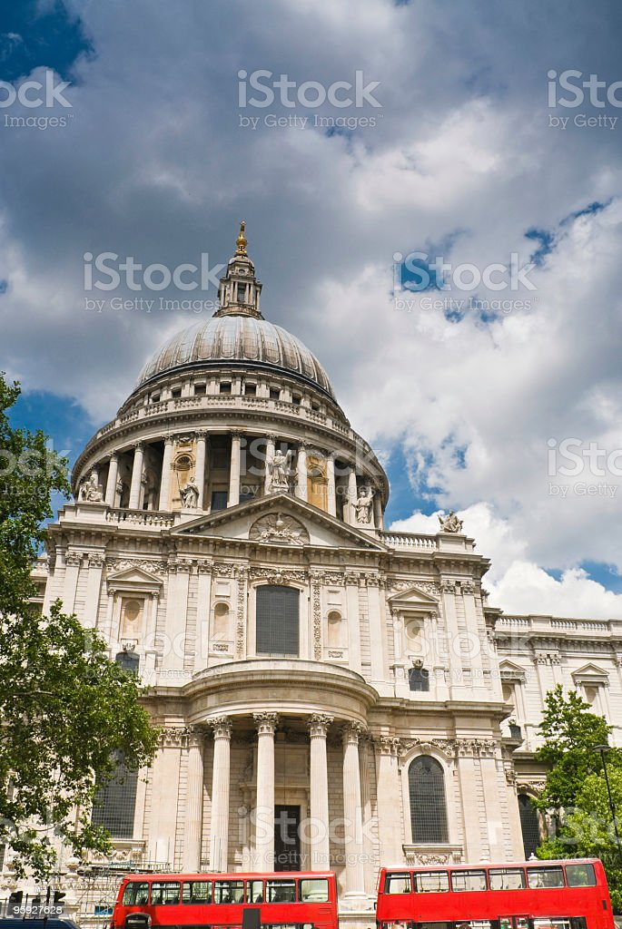 St Pauls red London buses royalty-free stock photo
