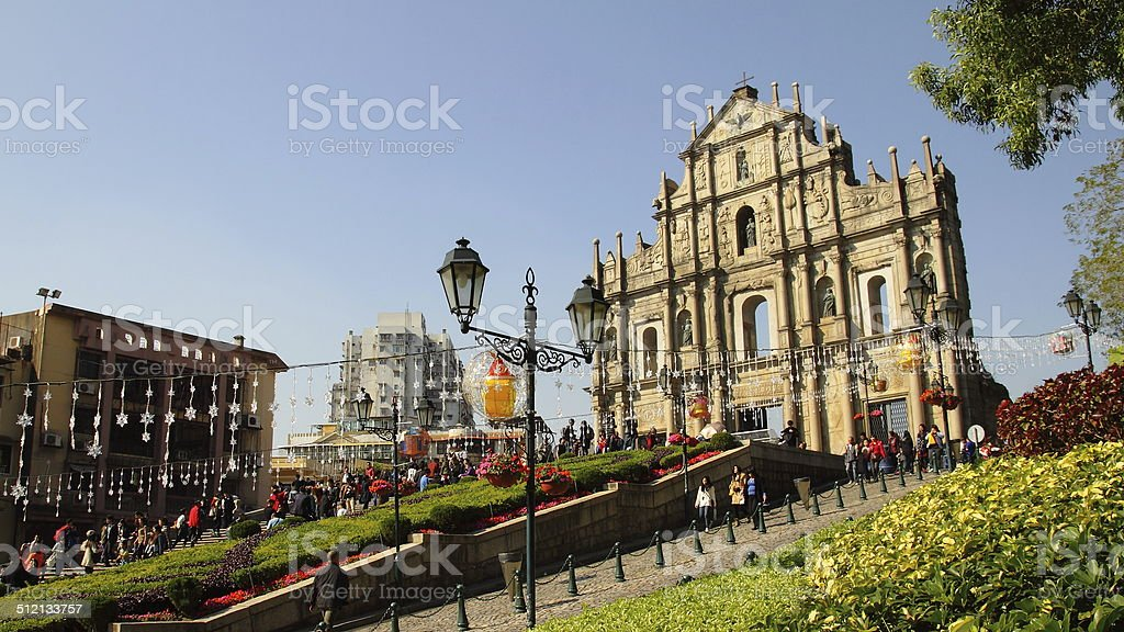 St Paul's Ruins, iconic portugese church landmark of Macau, China stock photo