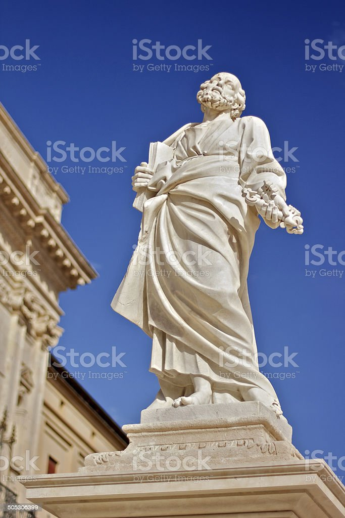 St. Pauls scrulpture in front of the Siracusa's Cathedral royalty-free stock photo