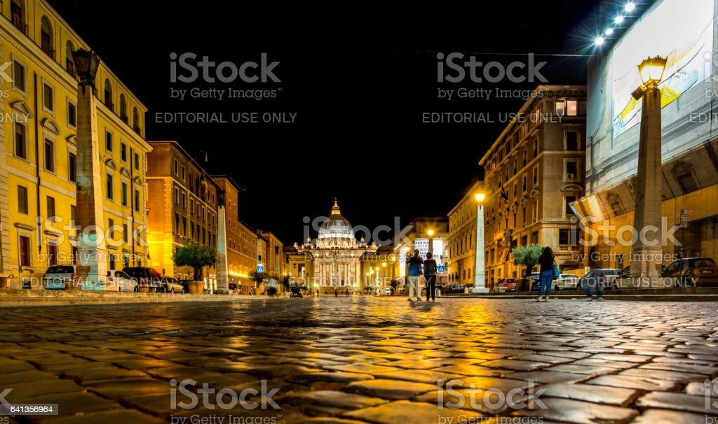 St Peter Basilica viewed from Via della Conciliazione, Rome, Italy. stock photo