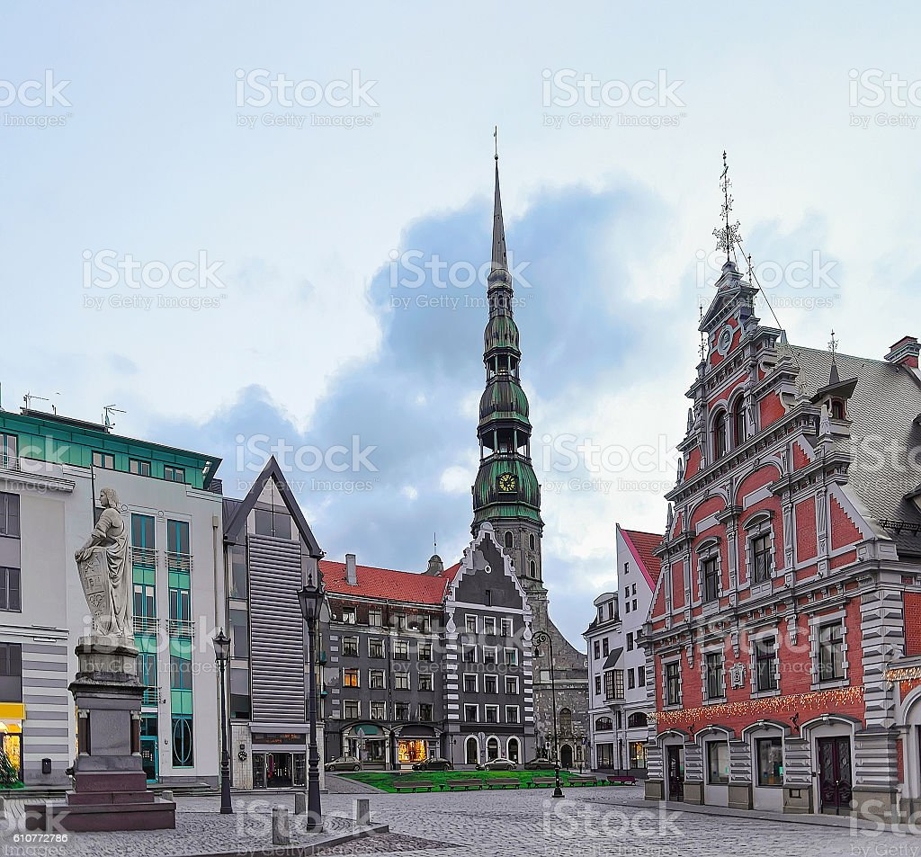 St Peter Cathedral and House of Blackheads in Riga stock photo