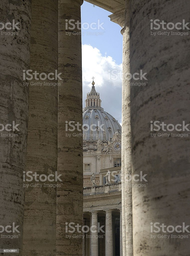 St Peter Cathedral Dome and colonnades. Rome, Italy stock photo