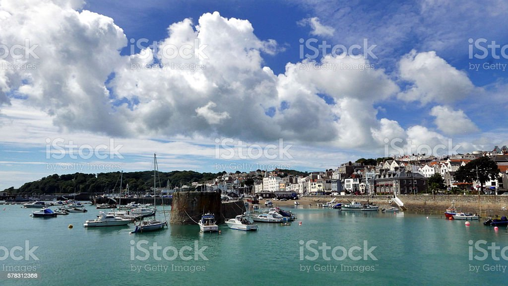 St Peter Port harbour, Guernsey stock photo