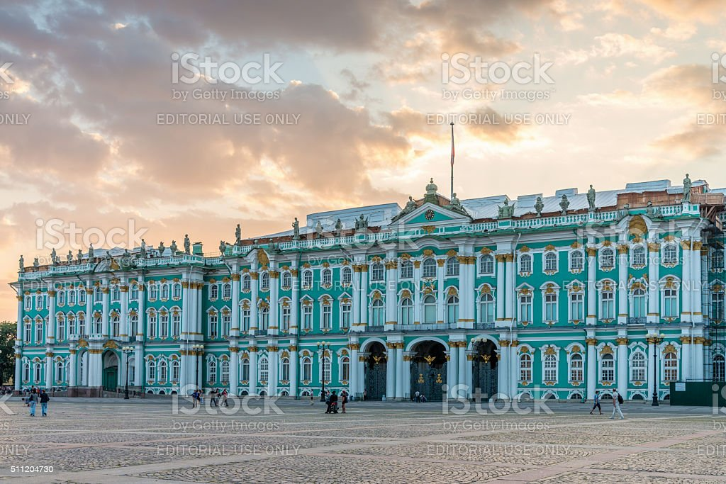 St. Peterburg Winter Palace Summer Twilght Russia stock photo