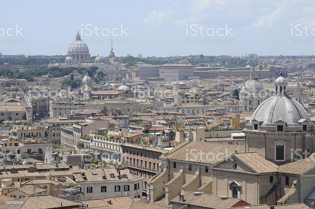 St. Peter's Bascilica in the distance, Rome, Italy. stock photo