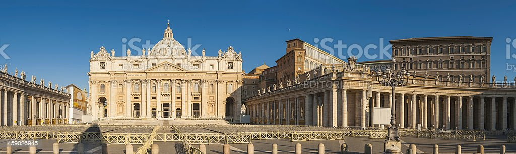 St Peter's Basilica and Piazza panorama Vatican City Rome Italy stock photo