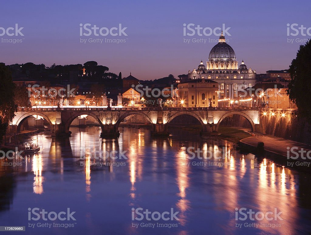 St. Peter's Basilica and the Tibre River royalty-free stock photo
