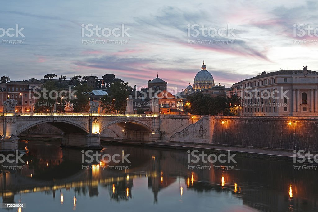 St. Peter's Basilica and Tiber river by night, Rome Italy royalty-free stock photo