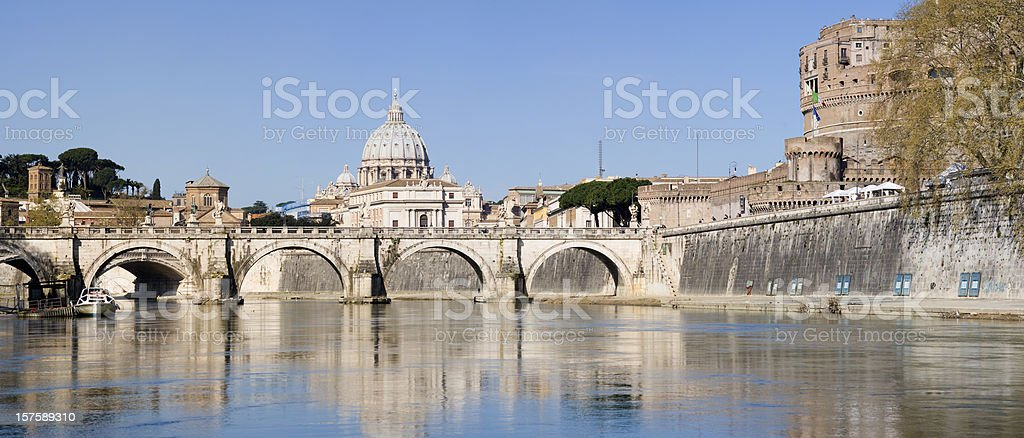 St Peters Basilica and Tiber River in Rome Italy stock photo