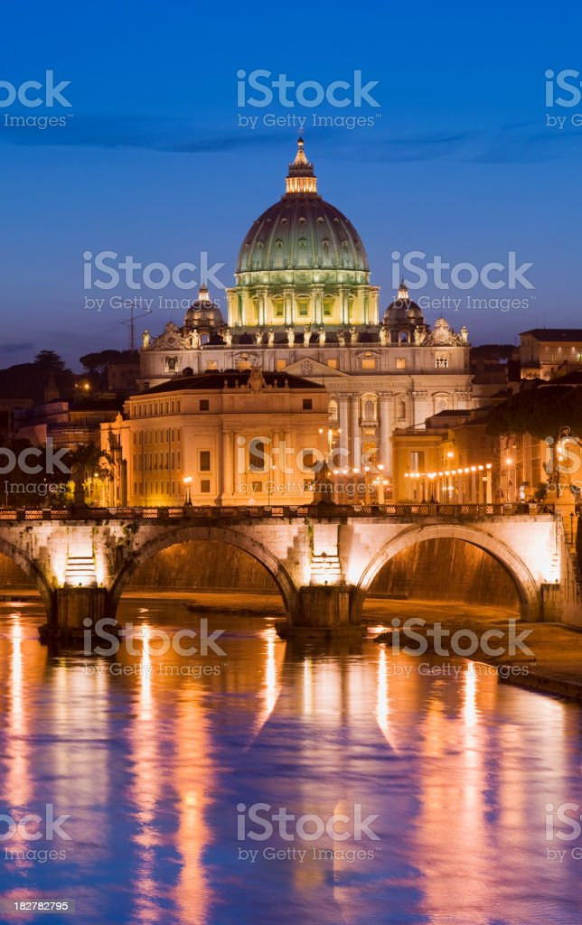 St Peters Basilica and Tiber River in Rome Italy royalty-free stock photo