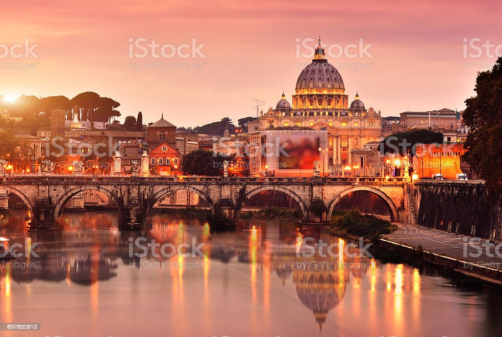 St Peter's Basilica and Tiber River stock photo