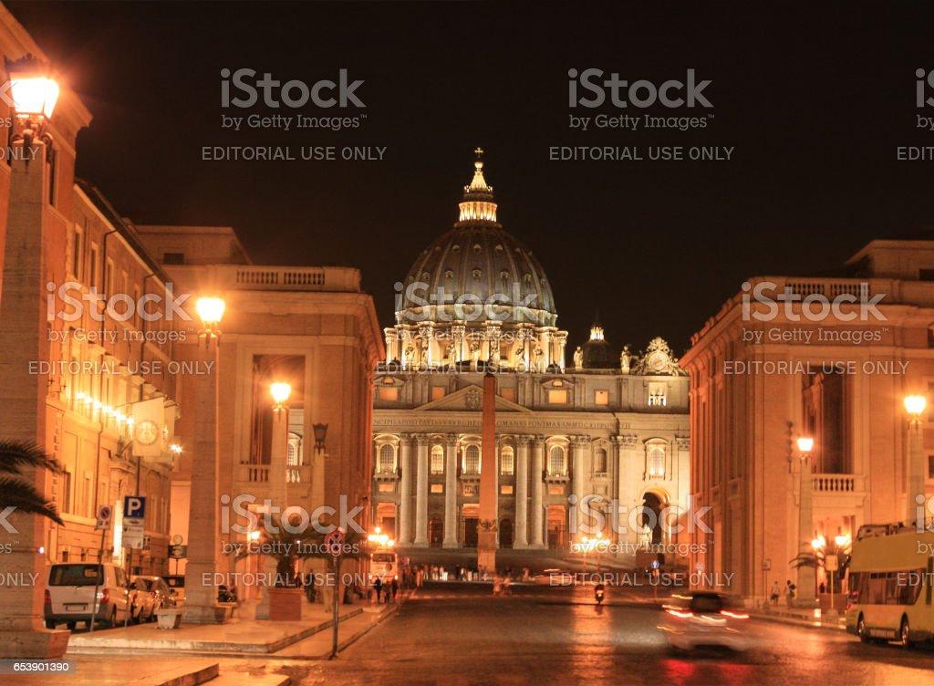 St. Peter's Basilica and Via della Conciliazione at Night, Vatican City, Rome, Italy. stock photo