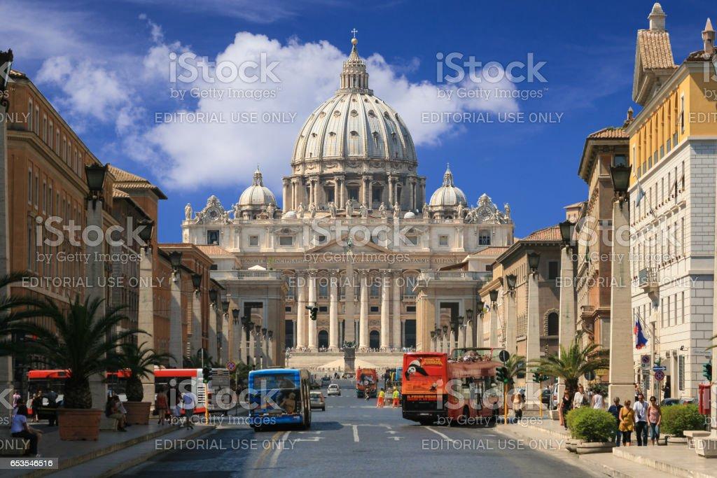 St. Peter's Basilica and Via della Conciliazione, Vatican City, Rome, Italy. stock photo