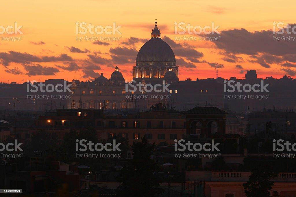 St. Peter's Basilica at dusk royalty-free stock photo
