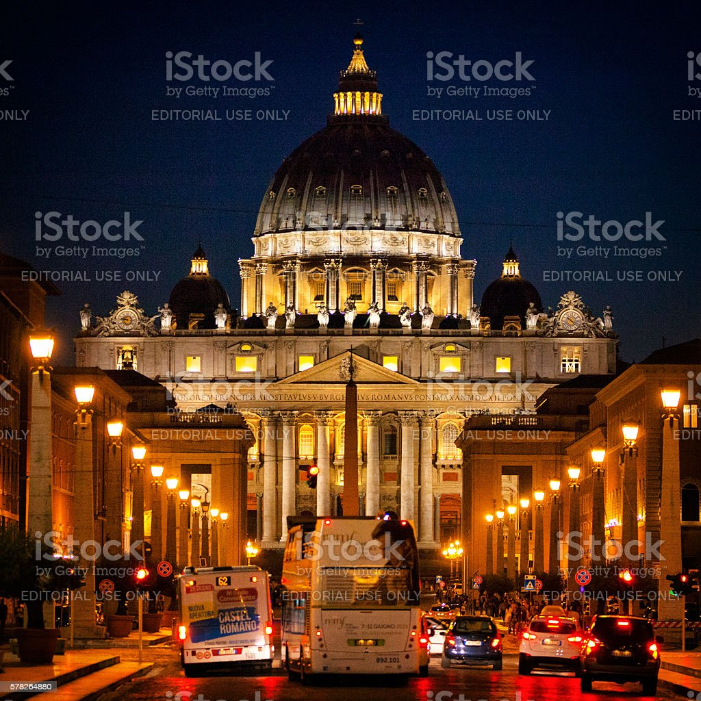 St. Peter's Basilica at Night in Vatican City stock photo