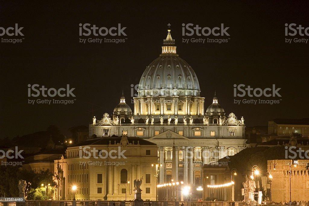 St Peter's Basilica at Night royalty-free stock photo