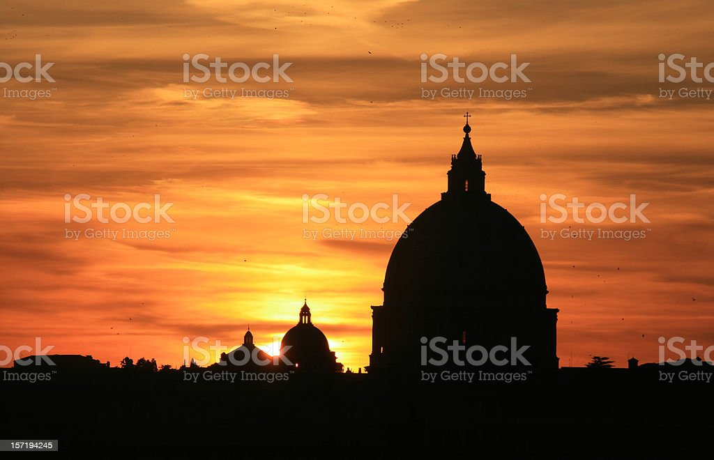 St. Peter's Basilica at sunset, Rome Italy stock photo