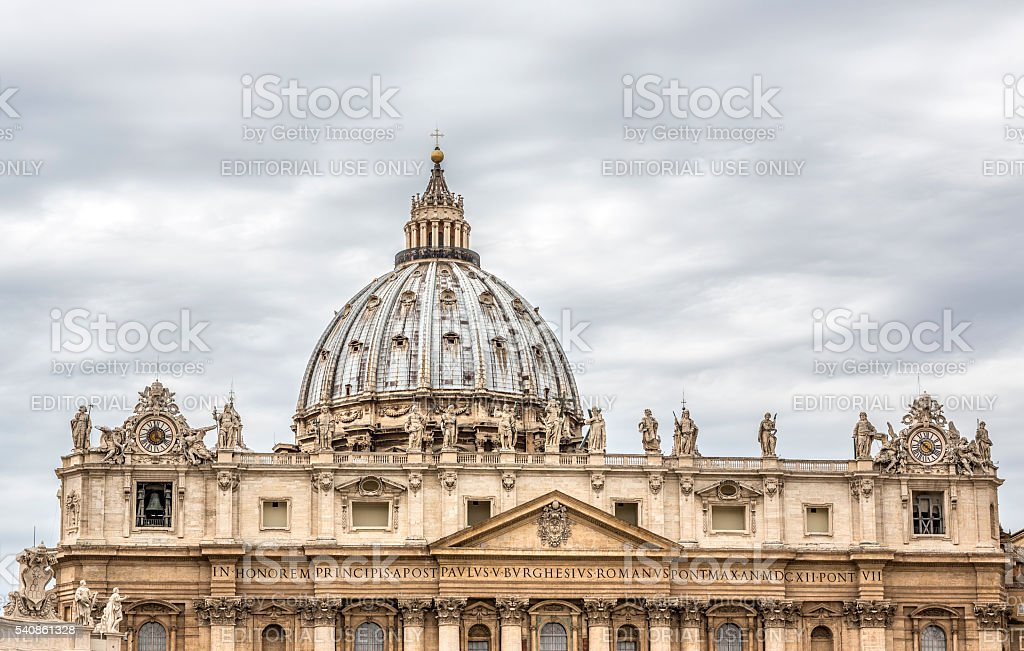 St. Peter's Basilica cupola, Vatican Rome Italy stock photo