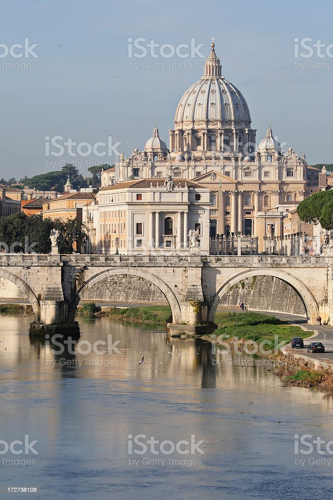 St Peters Basilica from over the water perspective stock photo