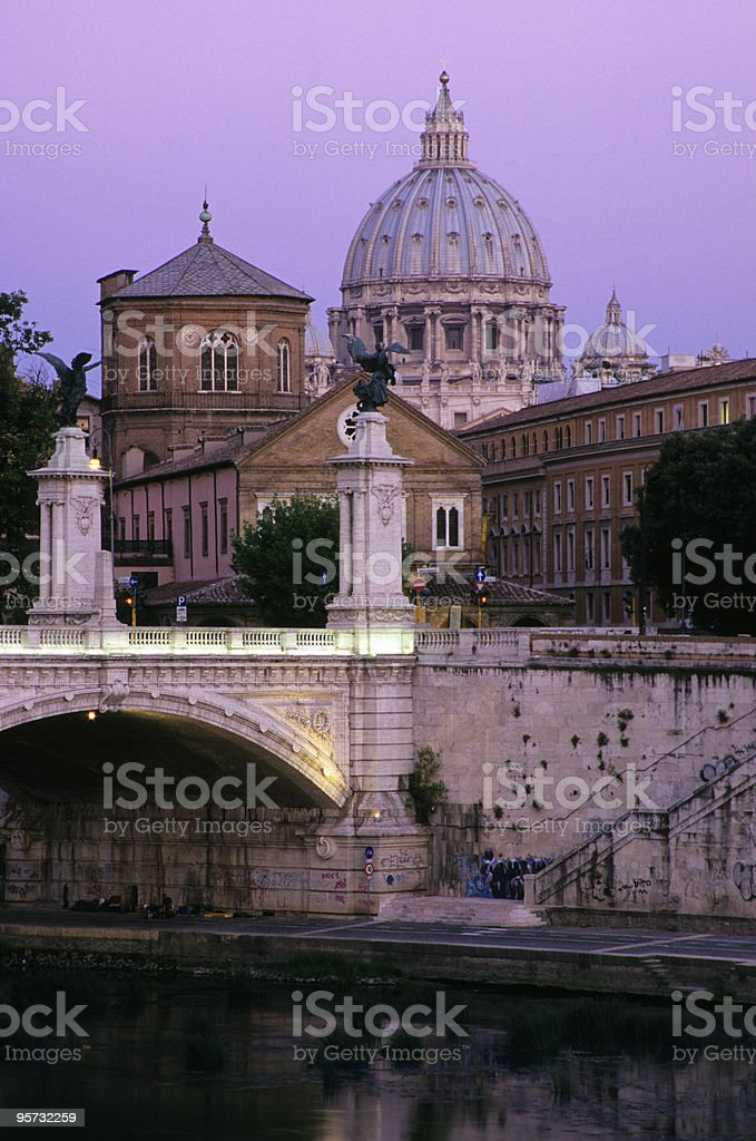 St. Peter's Basilica from Ponte Sant Angelo, Vatican City, Italy stock photo