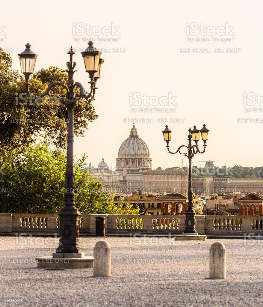 St. Peter's Basilica from The Pincian Hill, Rome Italy stock photo