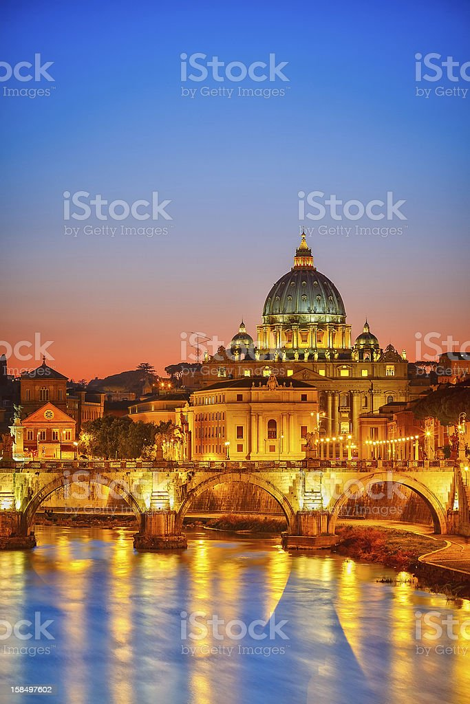 St. Peter's cathedral at night, Rome royalty-free stock photo