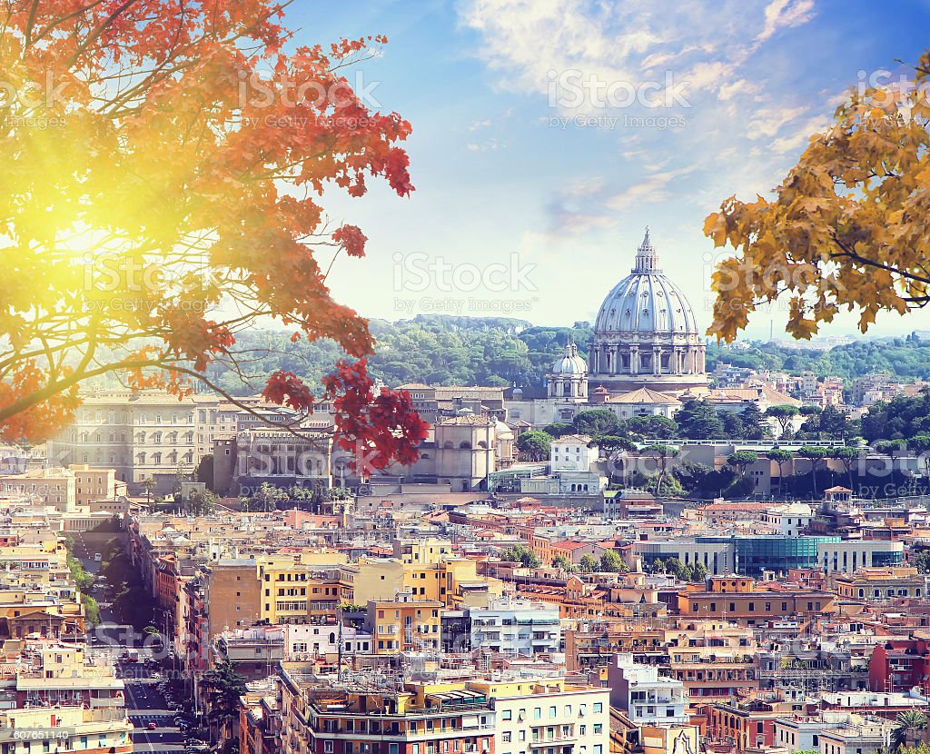 St. Peter's cathedral in Rome, Italy in autumn time stock photo