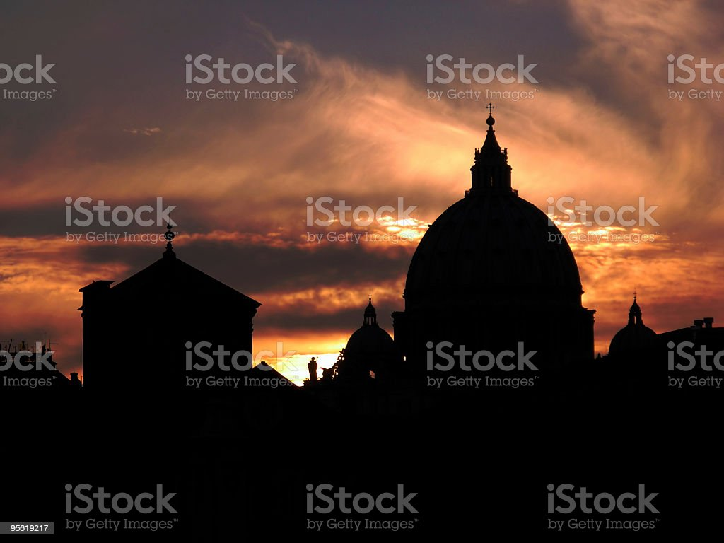 St. Peter's dome at sunset royalty-free stock photo