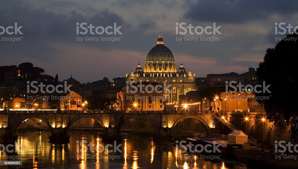 St. Peter's during the night stock photo