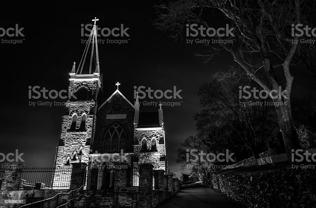 St. Peter's Roman Catholic Church at night, Harper's Ferry, WV. stock photo