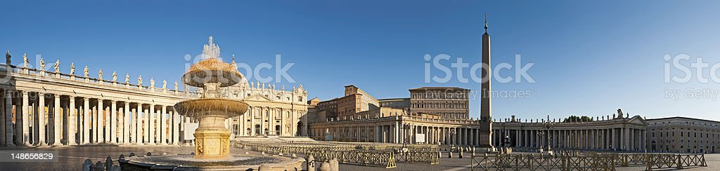 St Peters Square Basilica Vatican City Rome sunrise panorama Italy stock photo