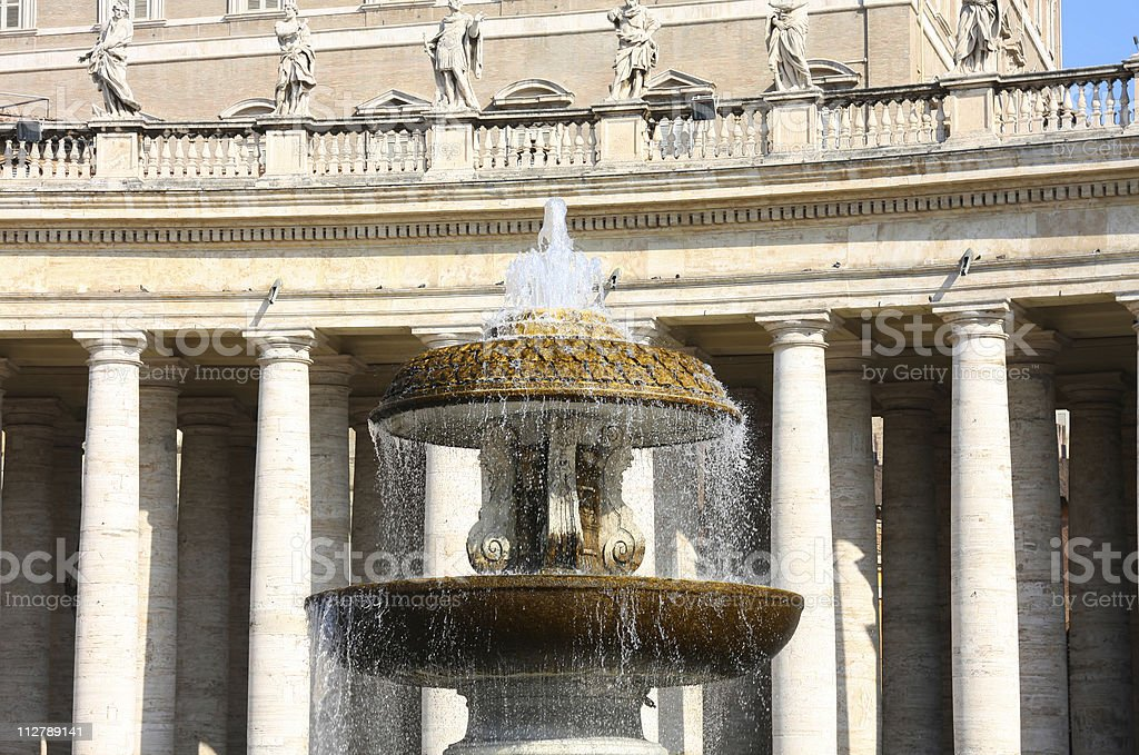St Peter's Square fountain in Vatican, Rome, Italy stock photo