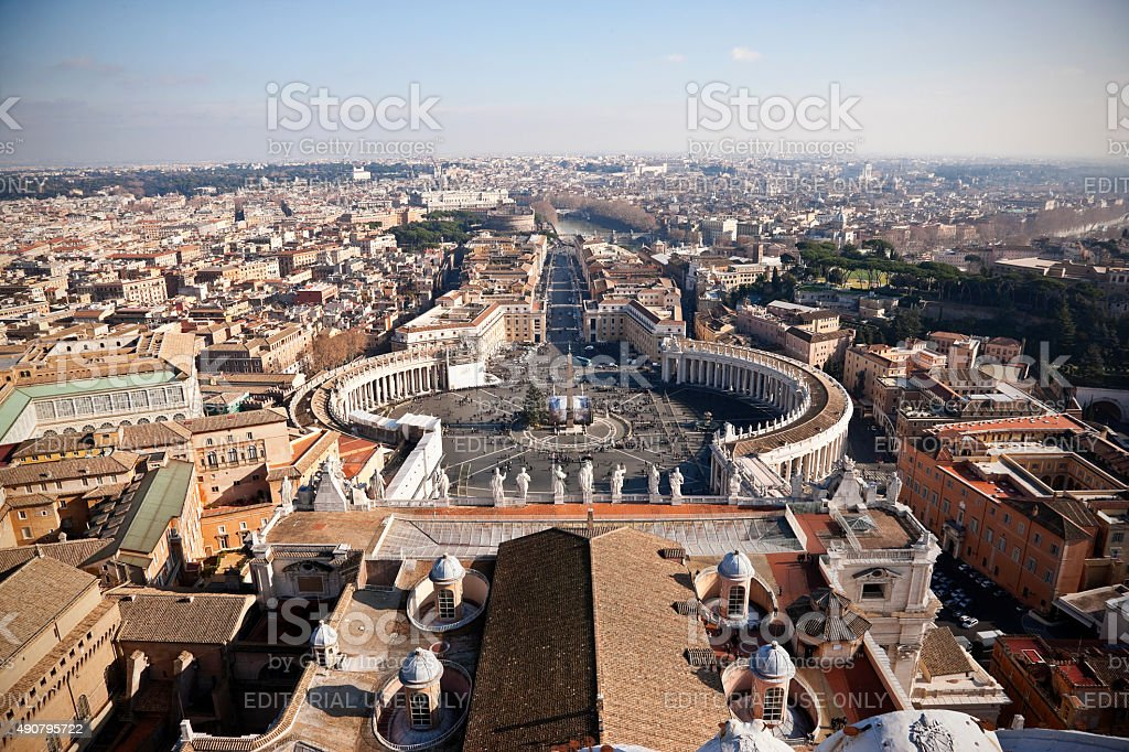 St. Peter's Square from the top of the St.Peter's Basilica stock photo