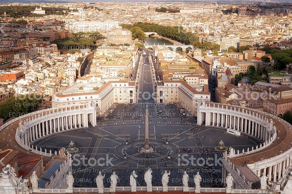 St. Peter's Square from the top view stock photo
