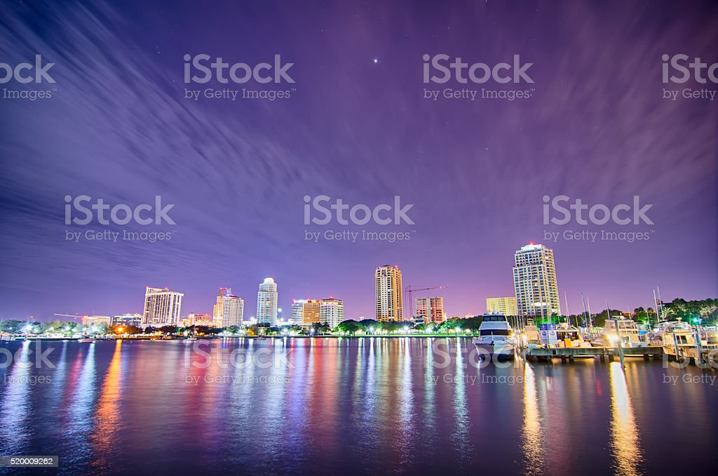 st petersburg florida city skyline and waterfront at night stock photo