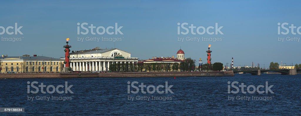 St. Petersburg. Panorama Spit of Vasilyevsky Island stock photo