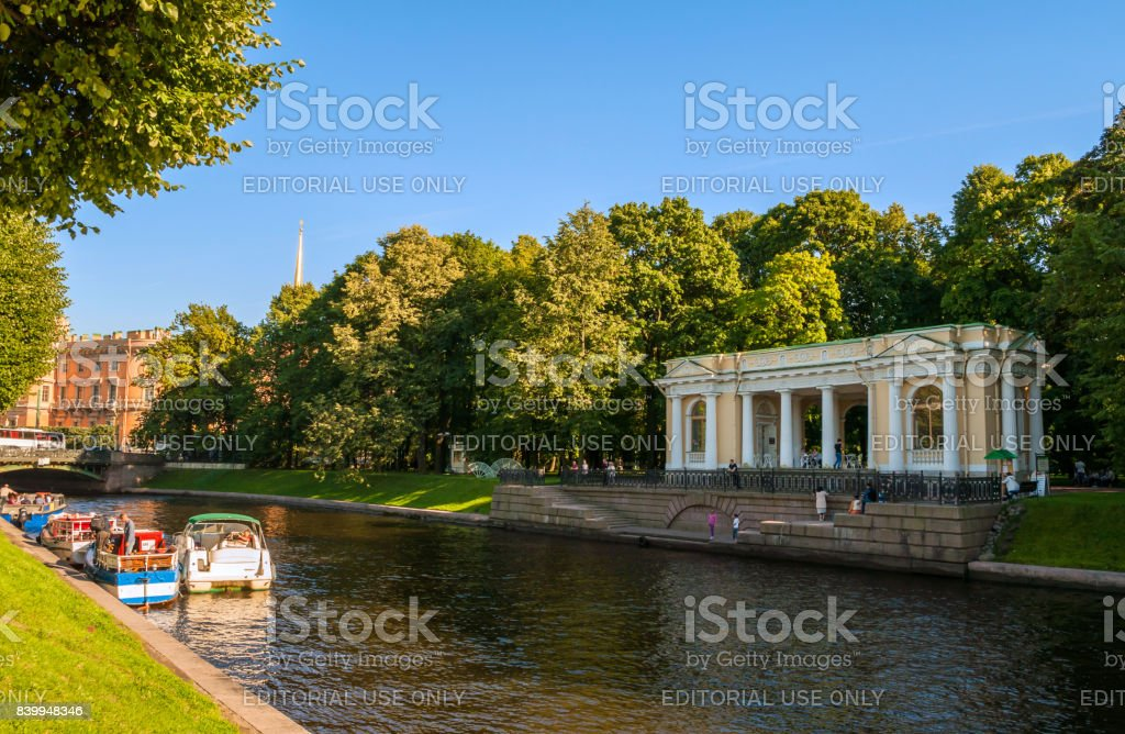 St Petersburg, Russia. Rossi Pavilion in the Michael Garden stock photo